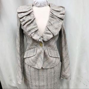 NWOT BCBGMaxAzria Ruffle Jaden Tweed Blazer   XS